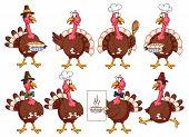 Постер, плакат: Thanksgiving Cartoon Turkeys Set