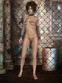 picture of tanga  - 3d render of a beauty in chains - JPG
