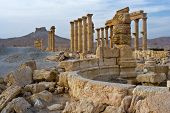 stock photo of zenobia  - The arab castle of Qalat Ibn Maan and the columns of the ancient city of Palmyra - JPG
