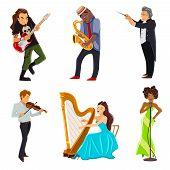 Постер, плакат: Musicians flat icons set