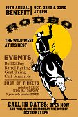 pic of bull-riding  - retro style illustration of a Poster showing an American Rodeo Cowboy riding a bull bucking jumping with sun in background and words  - JPG