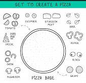 Постер, плакат: Template doodle set ingredient to build pizza Sliced vegetables