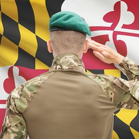 image of maryland  - Soldier saluting to US state flag series  - JPG