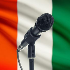 picture of ivory  - Microphone with national flag on background series  - JPG