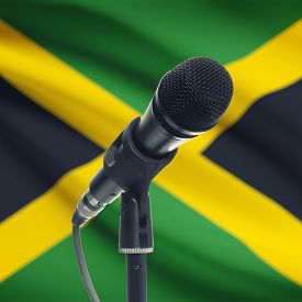 image of jamaican flag  - Microphone with national flag on background series  - JPG