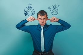 foto of inner ear  - man businessman covering his ears whispers thoughts of an angel and devil demon infographics infographics Bible study of religion - JPG