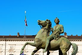 foto of torino  - Equestrian statue of Pollux in the Royal Palace  - JPG