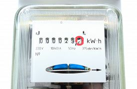 picture of electricity meter  - Power meter electric energy meter old electromechanical type - JPG