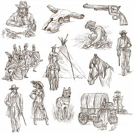 stock photo of freehand drawing  - INDIANS and WILD WEST  - JPG