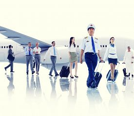 foto of cabin crew  - Business People Cabin Crew Transportation Airplane Concept - JPG