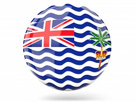 stock photo of indian flag  - Glossy round icon with flag of british indian ocean territory - JPG