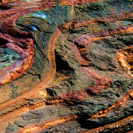 stock photo of iron ore  - surface mineral concomitant iron ore industrial iron ore mining - JPG