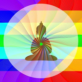 picture of dharma  - Buddha in meditation with rainbow waves from his heart - JPG