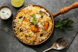 pic of raita  - Fish Biryani with raita made with basmati rice - JPG