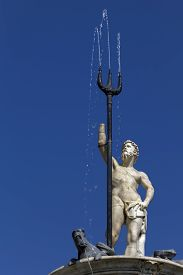 foto of trident  - The Fountain of Neptune in Naples Italy was built by Giovanni Domenico D - JPG