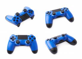image of analogy  - Gaming console blue plastic analog controller gamepad device isolated over the white background - JPG