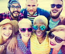 pic of huddle  - Friends Huddle Cheerful Union Summer Concept - JPG