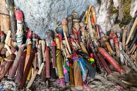 image of phallus  - Religious phallus symbols offerings in the cave of the Princess Pranang - JPG