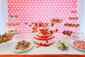 foto of eclairs  - Delicious sweet buffet for a party - JPG