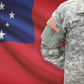 picture of samoa  - American soldier with flag on background series  - JPG