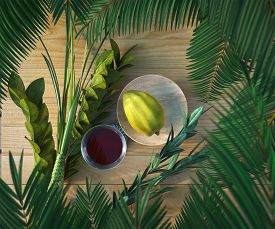 foto of sukkot  - Symbols of the Jewish holiday Sukkot with palm leaves and glass wine - JPG