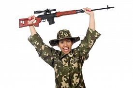 foto of sniper  - Woman with sniper weapong isolated on white - JPG