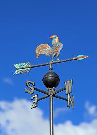 pic of wind vanes  - Weather vane vane for measuring wind direction with a rooster and the cardinal points - JPG