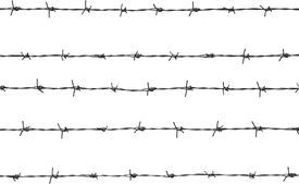 picture of barbed wire fence  - it is five pieces of barbed wire - JPG