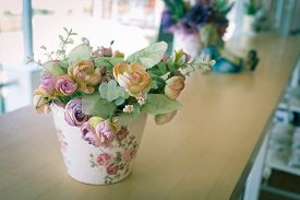 image of decoupage  - flowers vase decoupage decorated on wooden table at living room artificial flowers in vase - JPG