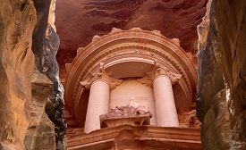 stock photo of treasury  - Al Khazneh or The Treasury at Petra Jordan - JPG