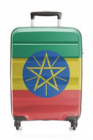 stock photo of ethiopia  - Suitcase painted into national flag series  - JPG