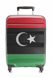 stock photo of libya  - Suitcase painted into national flag series  - JPG
