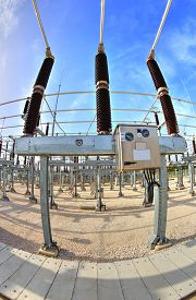 stock photo of substation  - High voltage switchyard in electrical substation in fisheye perspective - JPG