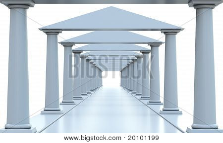 Ancient columns in a rows