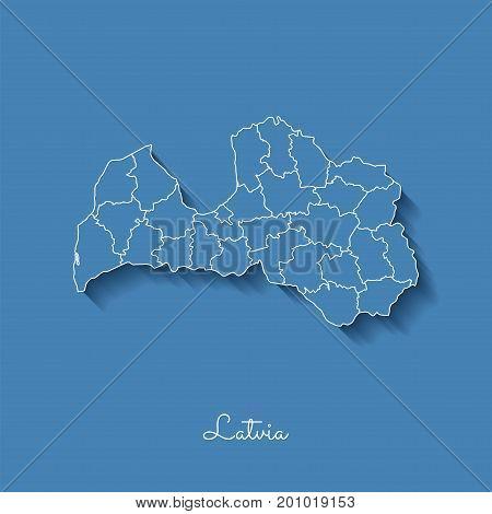 Latvia Region Map Blue White Vector Photo Bigstock - Latvia map outline