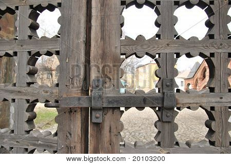 Fragment of wooden gates