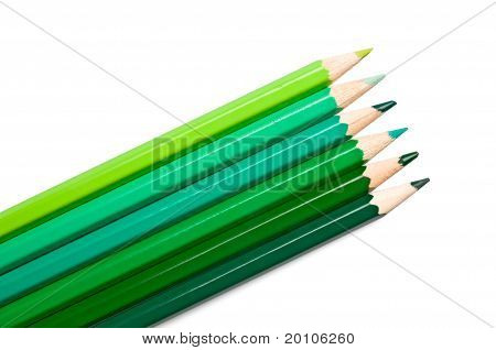 Set Of Colored Pencils, Green Palette