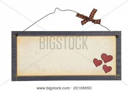 Wood plank with heart on wire