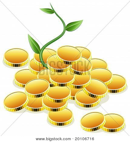 Vector Golden Coins And Green Plant