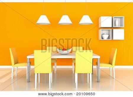 orange modern dining room