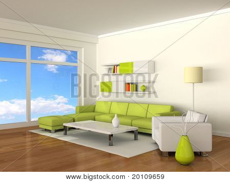 interior of the modern room, white wall and green-white sofas