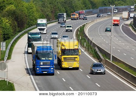 Highway with cars and trucks