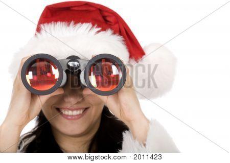 Female Santa With Binoculars