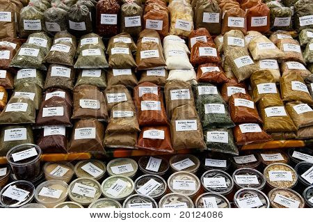 Herbs And Spices On A Market