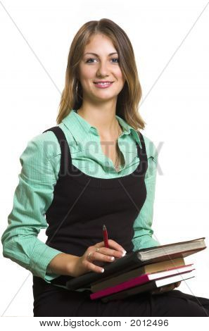 The Girl With Books On A White Background
