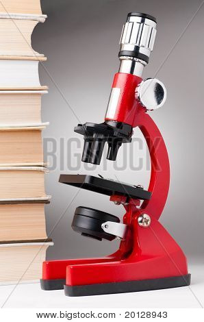 books and microscope