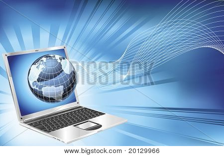 Laptop Word Map Globe Business Background