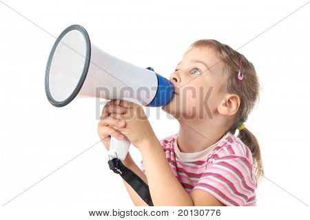 beautiful little girl in pink T-shirt speaks in megaphone isolated on white