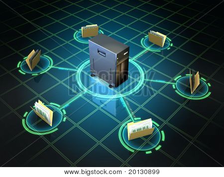 File folders connected to a desktop server. Digital illustration.