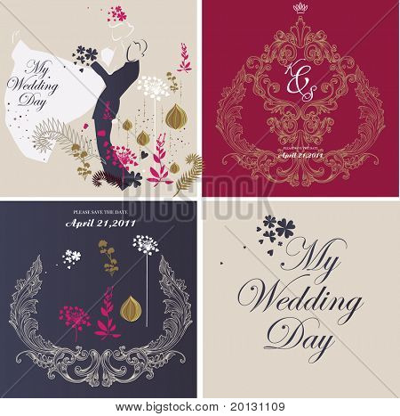wedding card design set